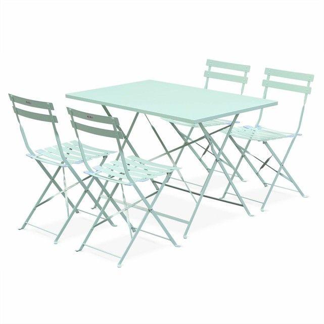 Salon de jardin bistrot pliable Emilia rectangulaire vert d\'eau,avec ...