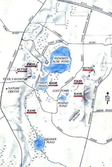 Mendon Ponds Park Map Map of glacial geology in Mendon Ponds Park. | honeoye falls