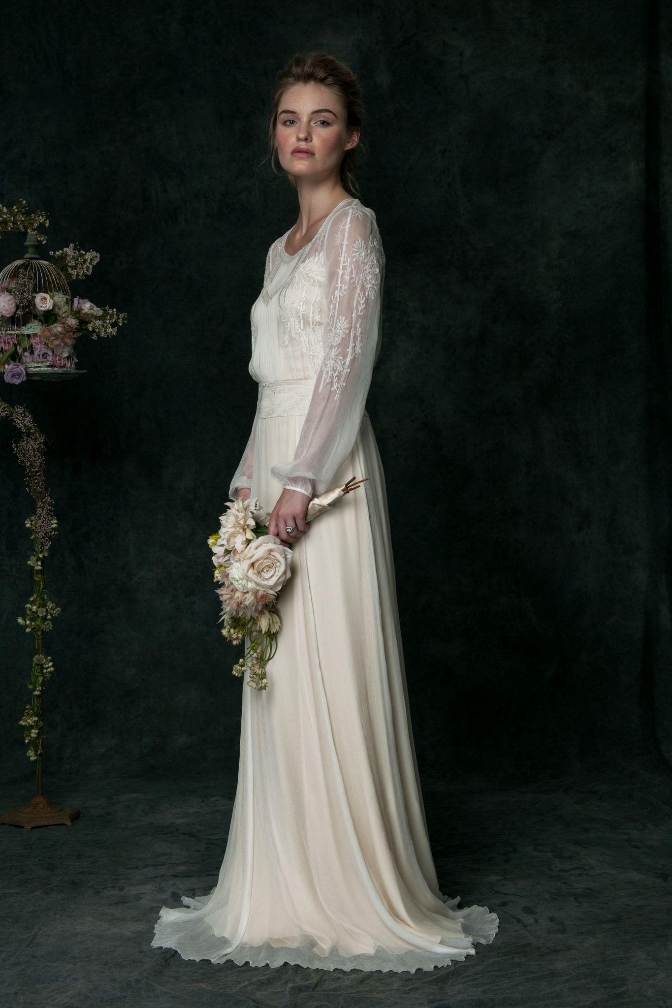 Long sleeve chiffon wedding dress  VT Long Sleeve Edwardian Inspired Wedding Dress  Signature