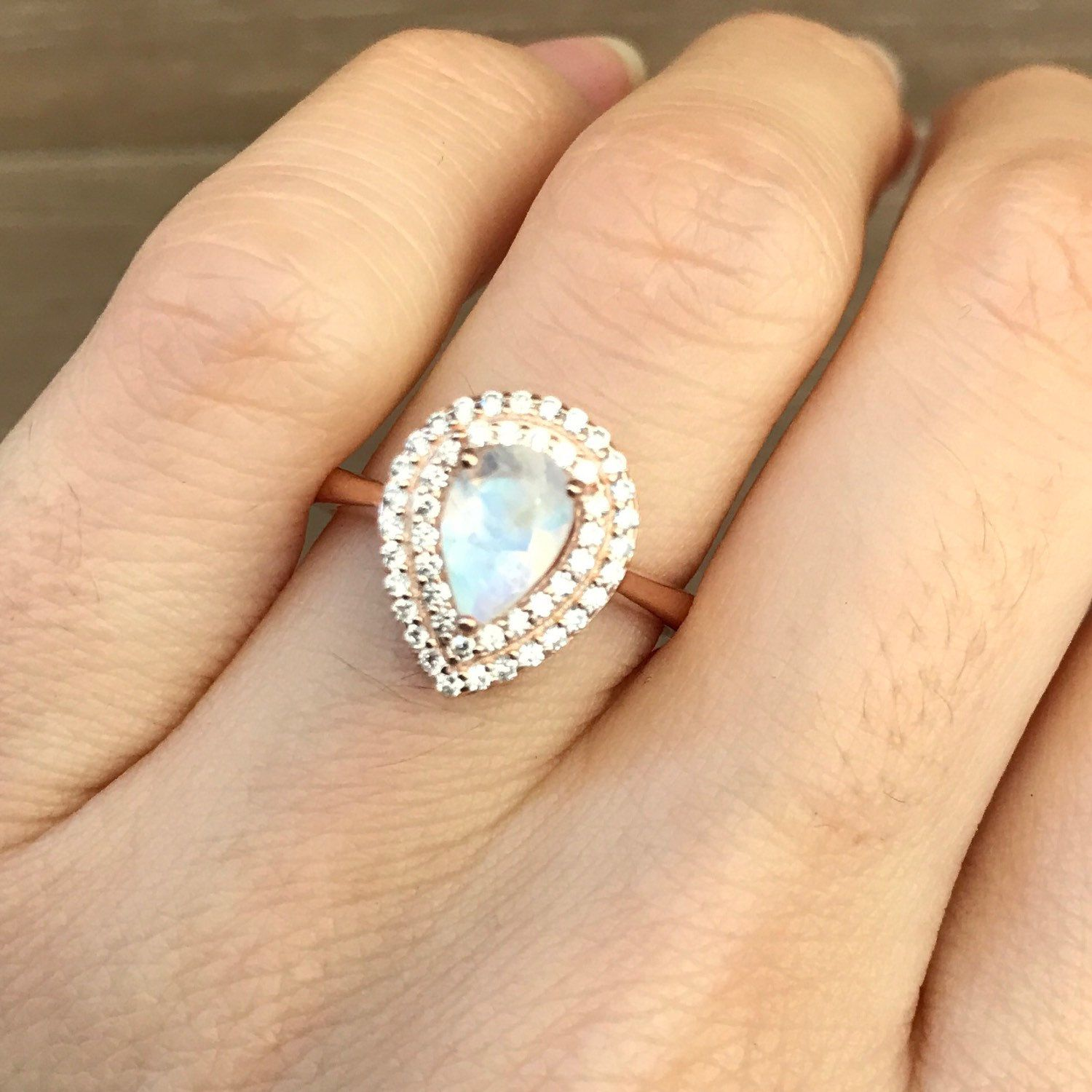 Moonstone engagement ring rose gold promise ring halo pear