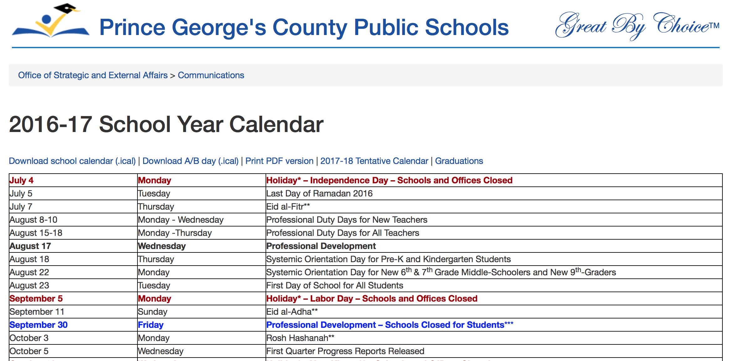 Pg County School Calendar Prince George's Country Schedule   School calendar, George county