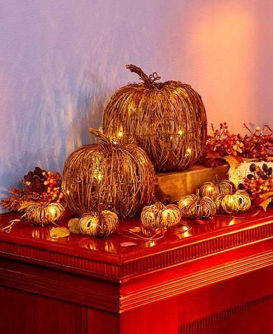 grapevine pumpkin led light string pumpkins rattan metal fall autumn harvest decor - Fall Harvest Decor