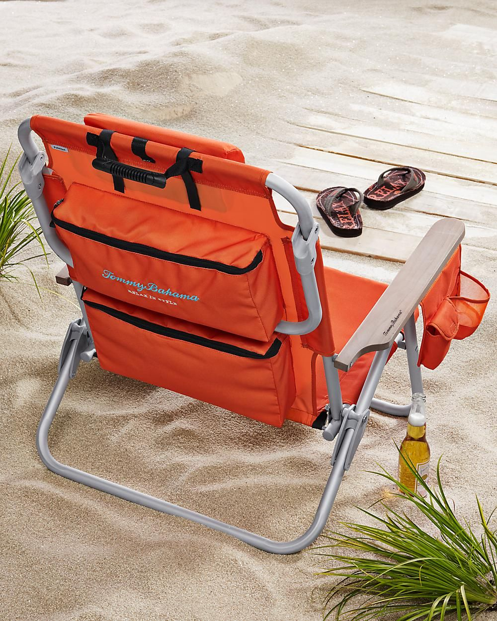 Orange Deluxe Backpack Beach Chair Cooler Lays Flat Storage Back Pack Strap Very Cool