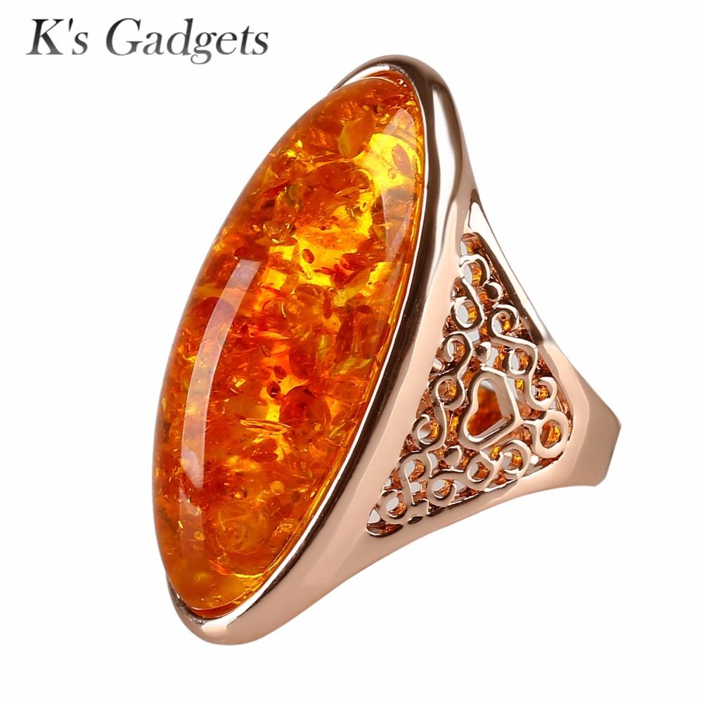 Yellow Imitation Stone Women Rings Fashion Rose Gold Color Trendy