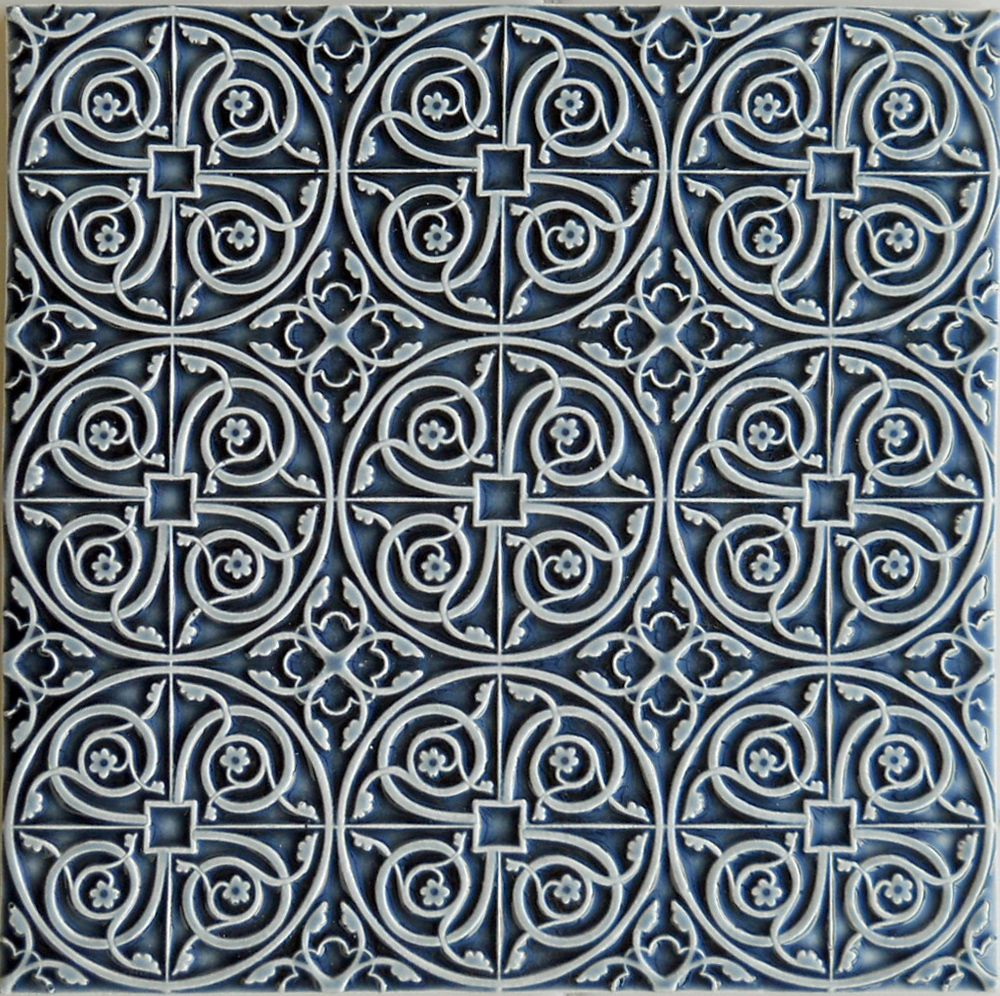 Delicate lacy patterned Filigree #tile from Pratt & Larson with a great dark blue glaze W96