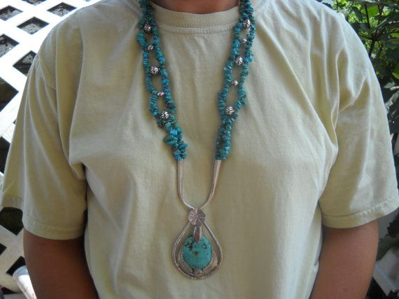 Sterling Turquoise Nugget Statement Necklace.. by Jadelsjewelry, $235.00