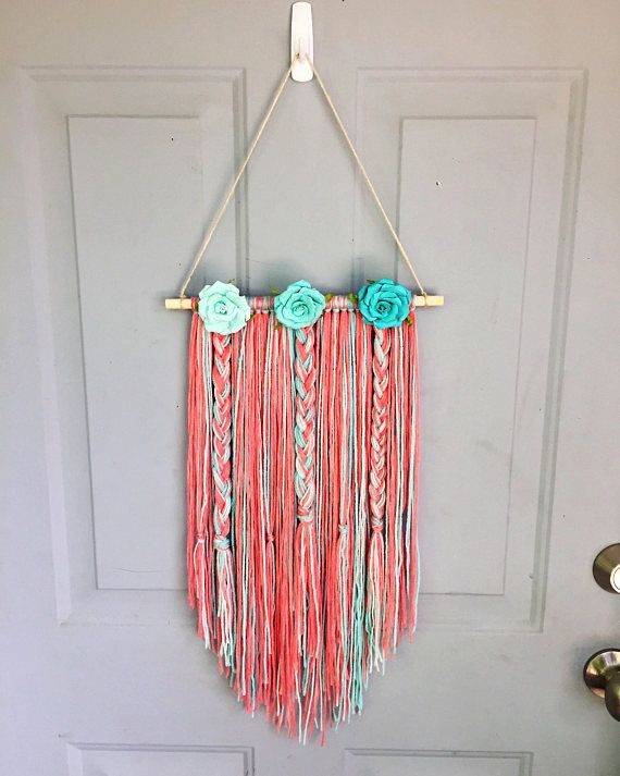 Boho Wall Hanging Nursery Decor Bow Holder Yarn Wall Yarn Wall Hanging Diy Bow Holder Bow Holder