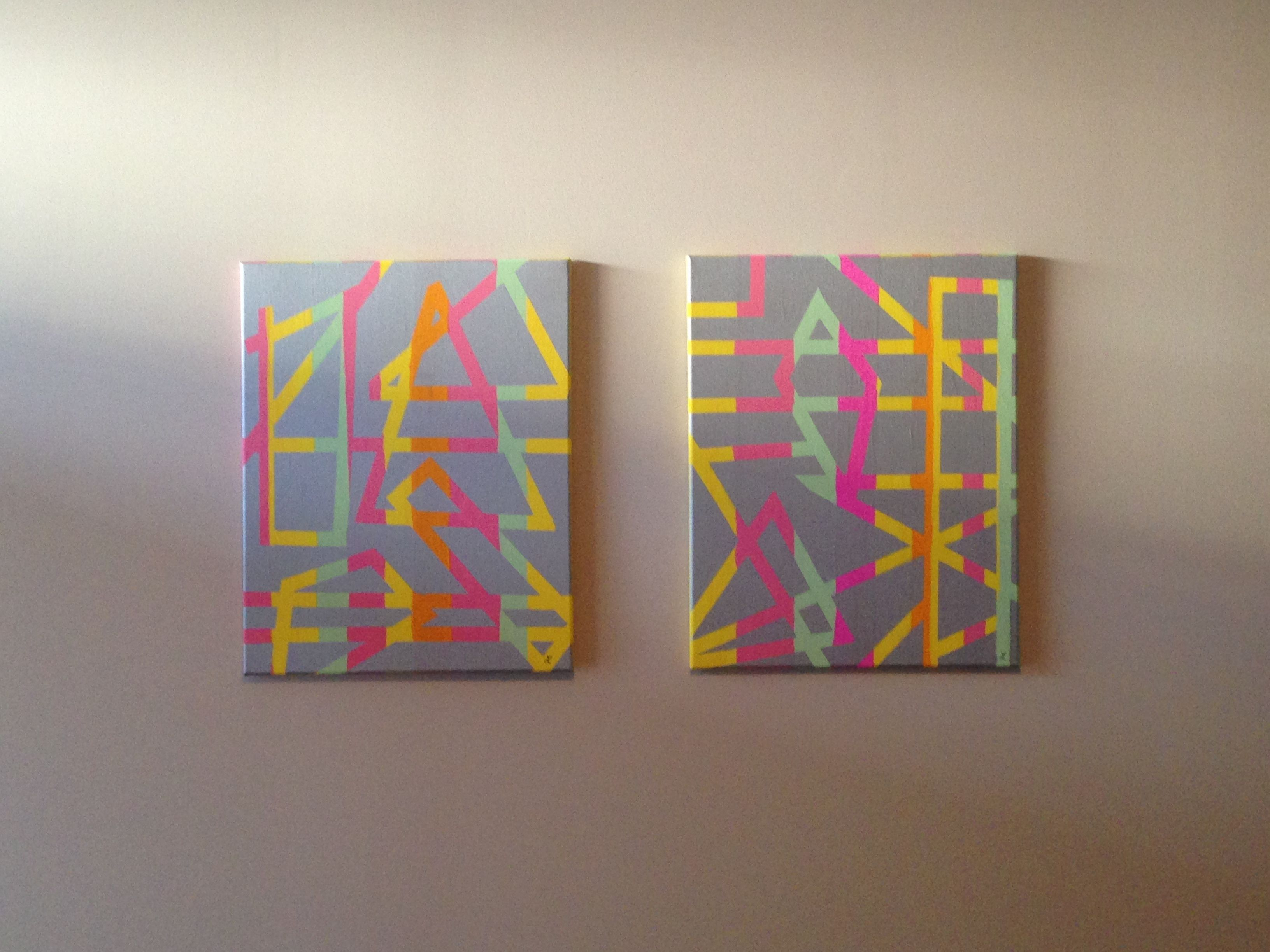 cheap diy wall art. paint multicolor stripes on canvas, allow to