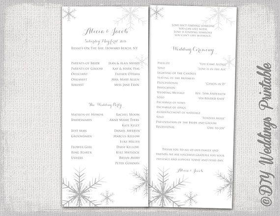 Winter Wedding Program Template Snowflake Printable Silver Gray Diy Snowflakes Programs You Edit