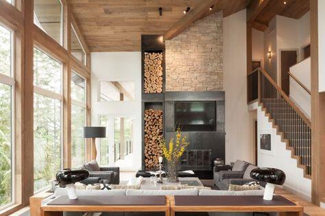 Moderner Landhausstil -umbau-almhaus-wohnzimmer-kamin-naturstein