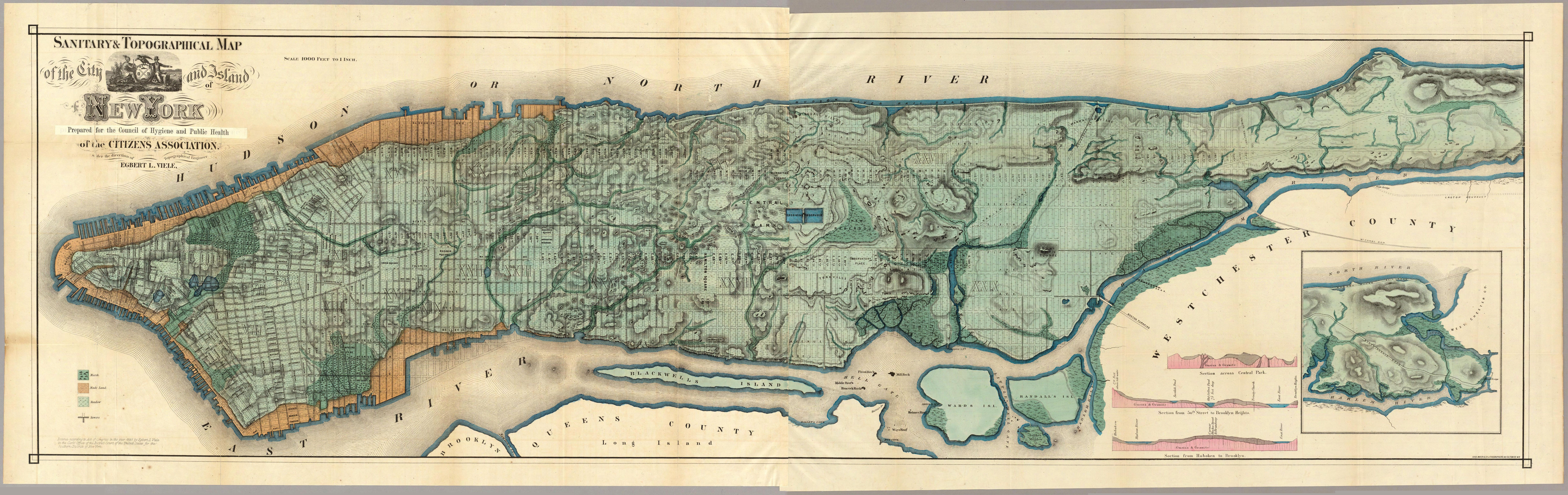 Map Of New York Waterways.Viele Map Of Manhattan A Map Drawn In 1865 Of The Original