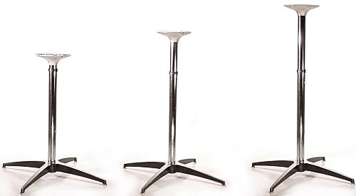 Beau Adjustable Table Base Chrome And Polished Aluminum Slip Together Set Up