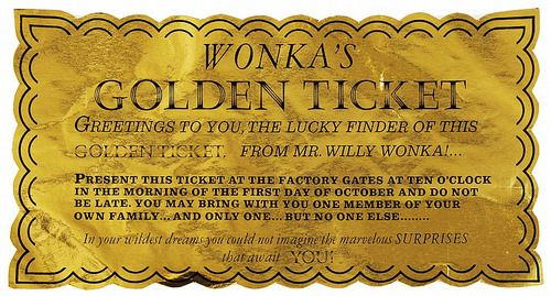 Original screen-used Golden Ticket from Willy Wonka and ...
