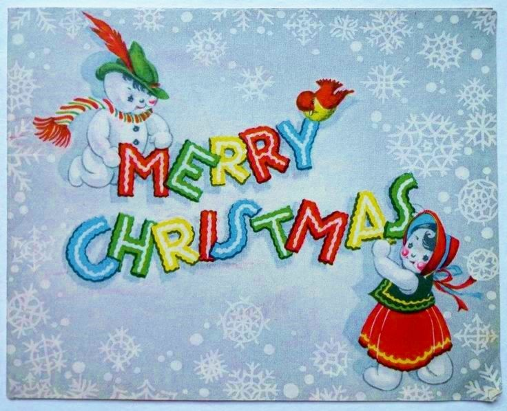 1940's-60's Snowmen Snowflakes Birds Vintage Christmas Wishes Greeting Card USA