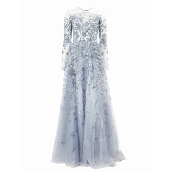 83bb0675e90 Zuhair Murad Sequin Embroidered Tulle Gown (584.145 RUB) ❤ liked on  Polyvore featuring dresses