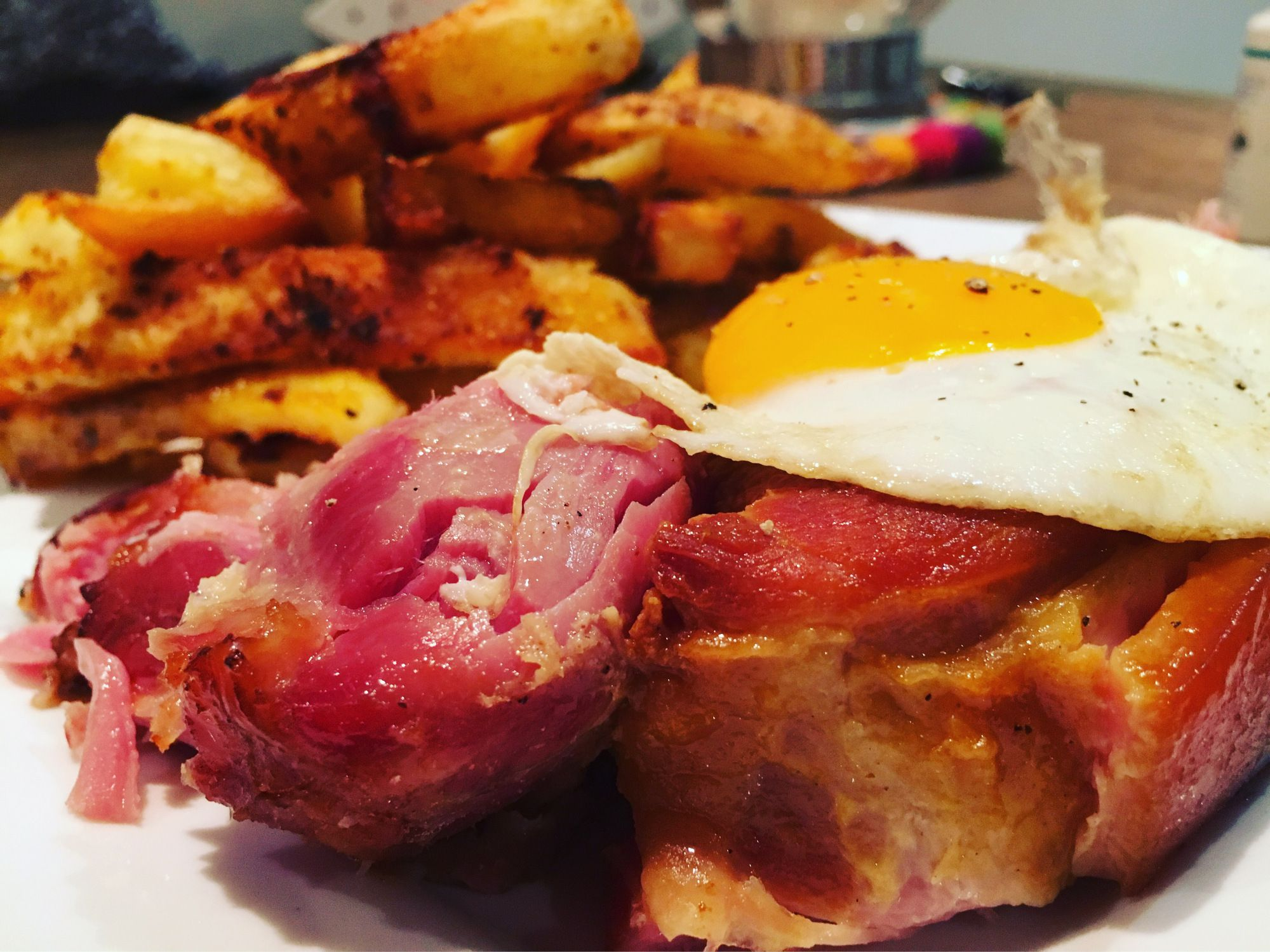 Pulled ham egg and chips Ham egg and chips is a British classic. But mostly made with chewy Gammon steaks. Whenever I cook gammon I use a whole joint and slow cook it the way my Mum used to do it. …