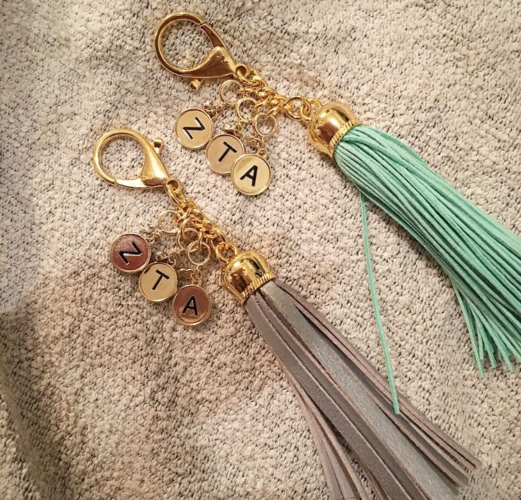 Diy Sorority Keychain Basket Stuffer Made With Letter Charms Jumper Rings And Tassel Keychains From Ho Buy Wholesale Jewelry Jewelry Leather Tassel Keychain