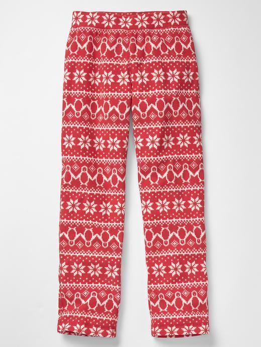 685f27d3cf295 Gap Kids Girl Fair Isle Snowflake Red Microfleece Pajama PJ Sleep Pants 4  NWT$25 | eBay