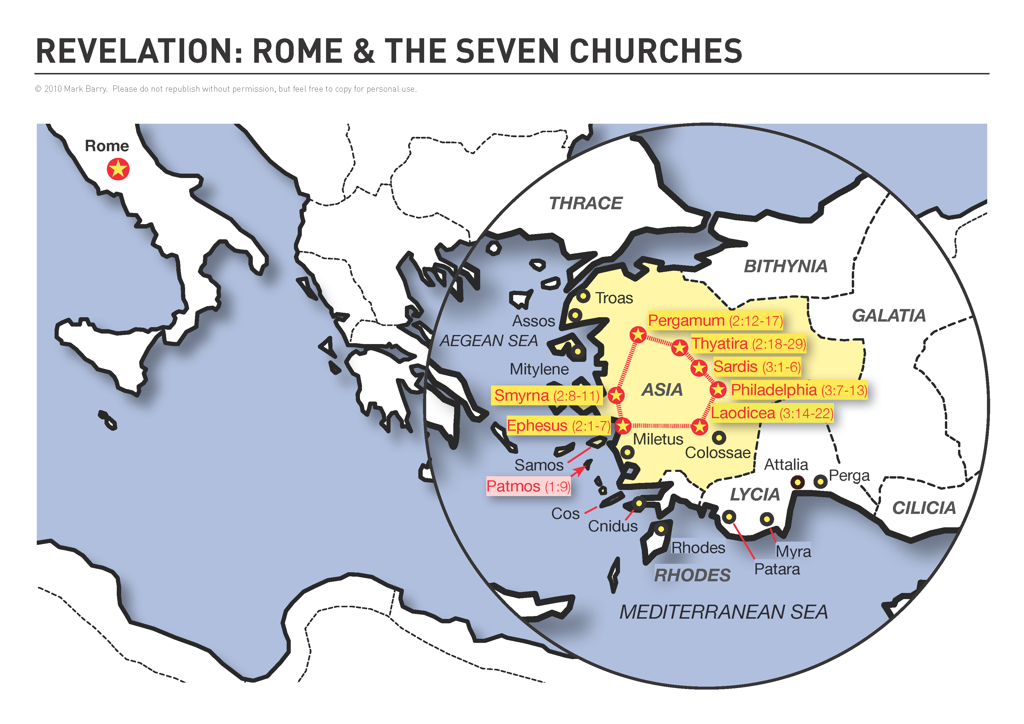Map showing Rome and the seven churches of Revelation 2-3 ...