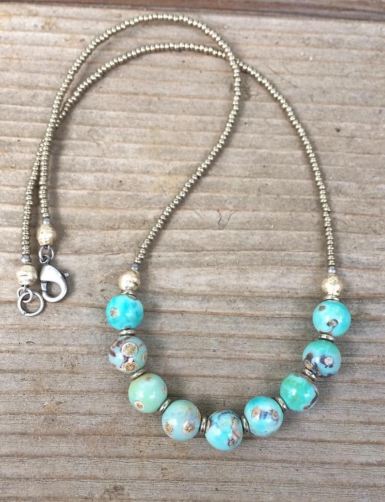 Photo of Beaded Stone Necklace, Boho Jewelry, Bohemian Silver Necklace, Beaded Necklace, Beaded Jewelry, Blue Jewlery