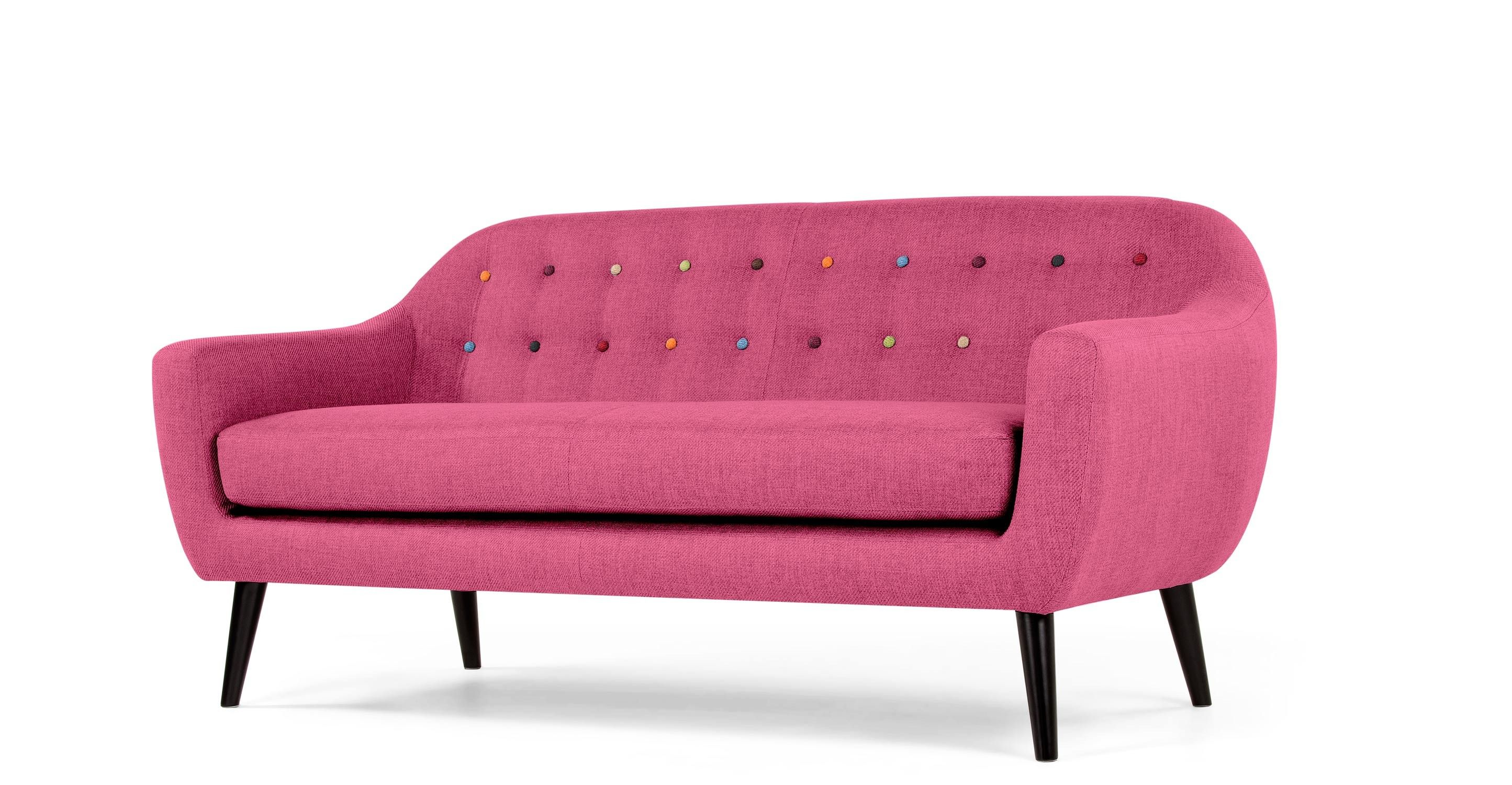 Ritchie 3 Seater Sofa Candy Pink With Rainbow Buttons 3 Seater Sofa Cheap Sofa Sets White Leather Chair