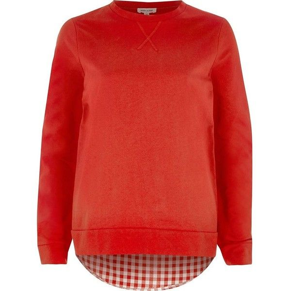 River Island Red check back layer top ($44) ❤ liked on Polyvore featuring tops, t-shirts, plain t-shirts / tanks, red, t shirts / tanks, women, red t shirt, crew t shirts, long sleeve t shirts and tall t shirts