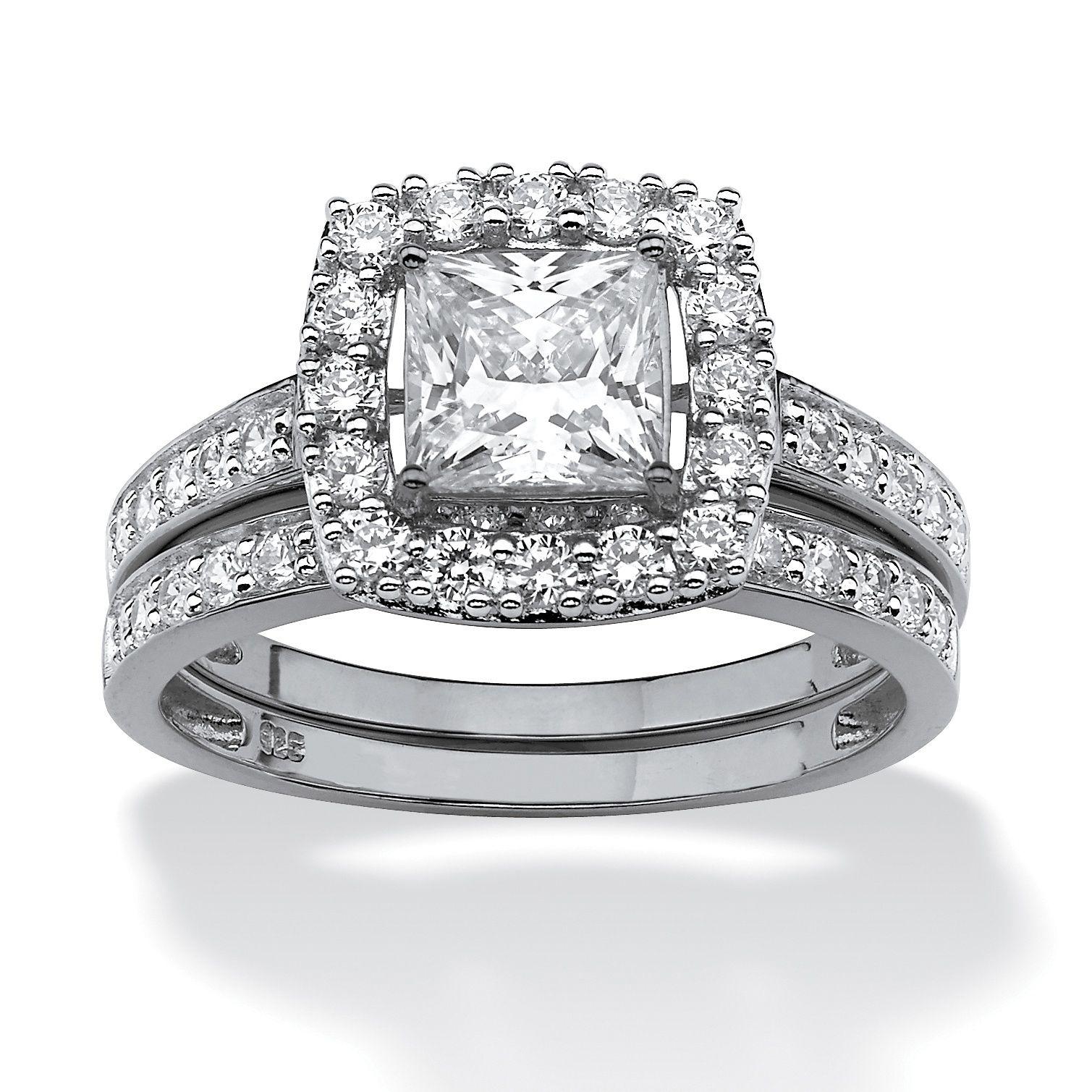 1.93 TCW PrincessCut Cubic Zirconia Bridal Ring Wedding