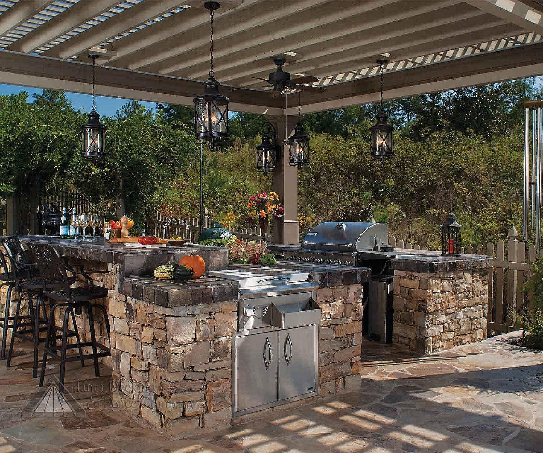 Lantern Shaped Hanging Outdoor Pendant Lights In An Outdoor Outdoor Kitchen Design Outdoor Kitchen Backyard Kitchen