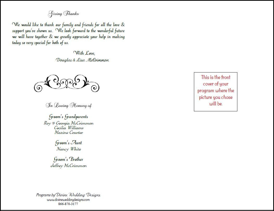 free printable wedding programs templates bookfold wedding