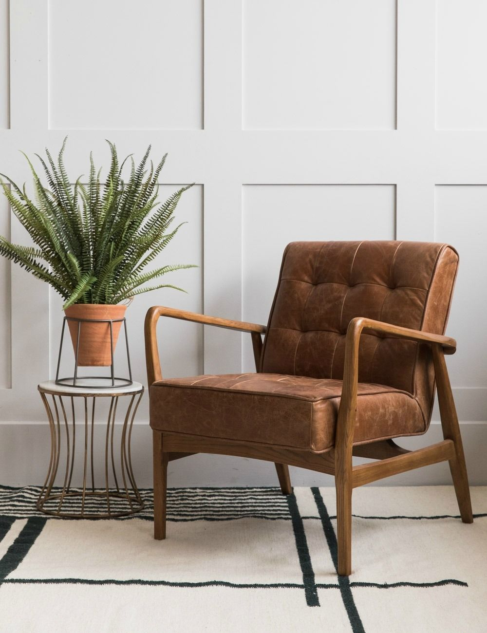 Mid Century Button And Stud Brown Leather Armchair Leather Chair Living Room Brown Leather Chairs Leather Armchair