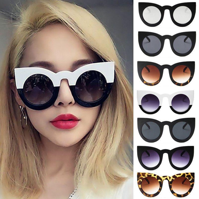 a7fc073b6f39  1.93 - Women Round Cat Eye Oversized Sunglasses Thick Retro Vintage Style  Frame Fashion  ebay  Fashion