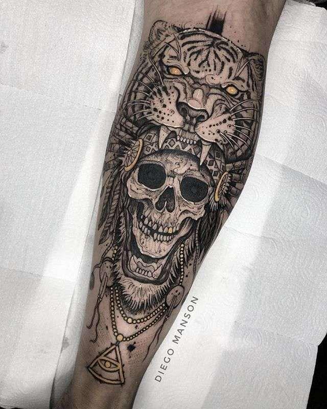 b5c69cc24 Tatuajes | tattoos | Sleeve tattoos, Skull tattoos, Mayan tattoos
