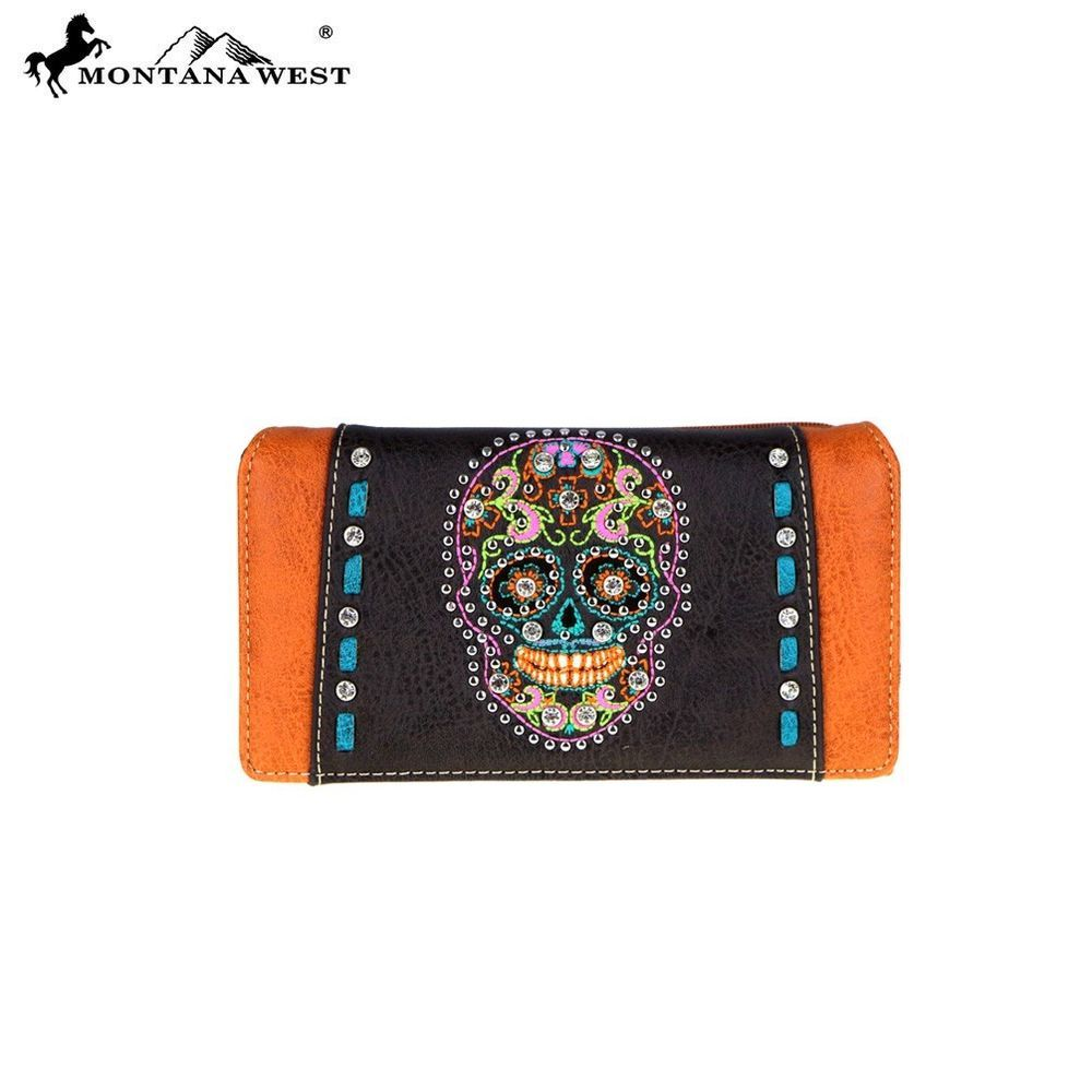 Montana West Embroidered Secretary Style Wallet Black