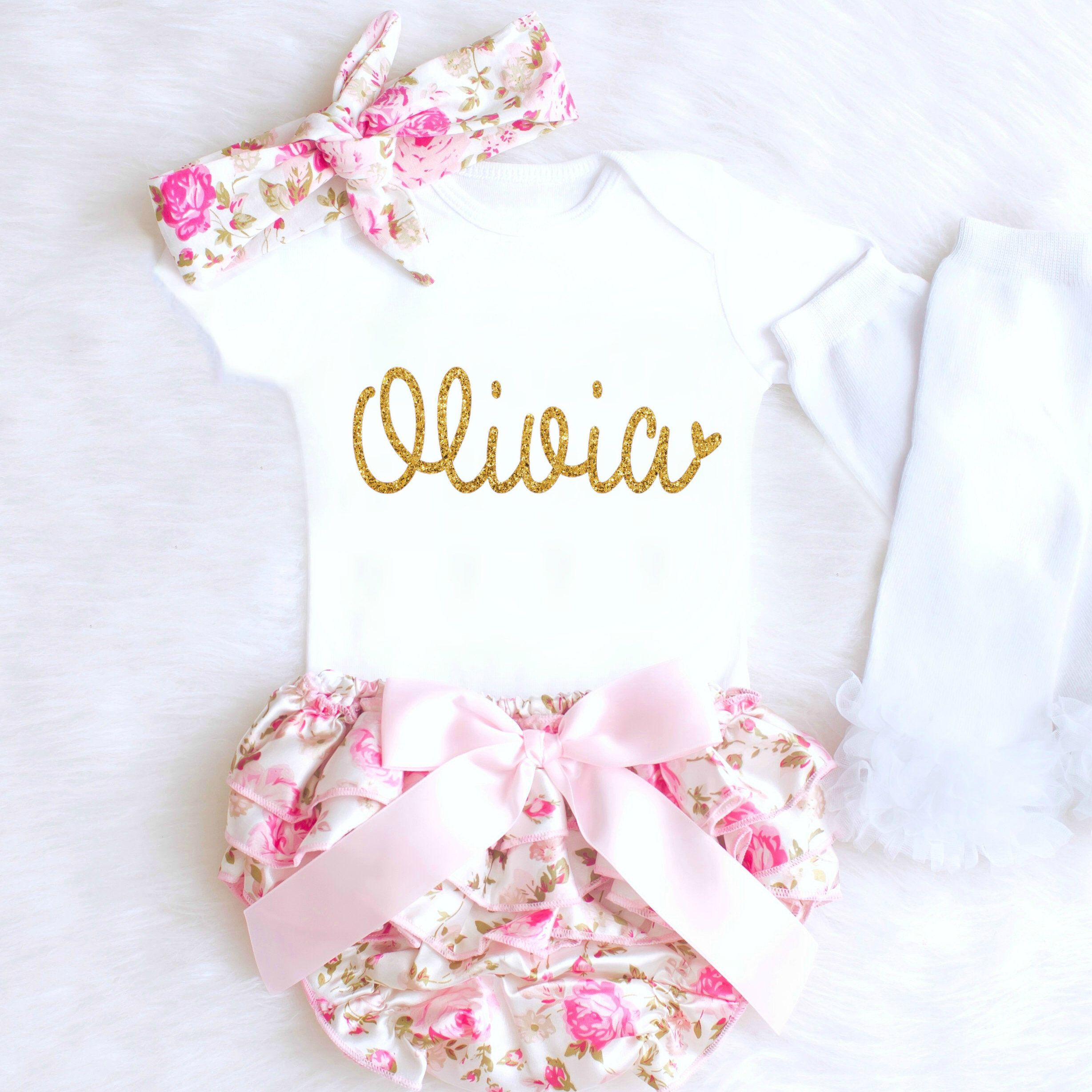 bb28b73a5785 Baby Girl Coming Home Outfit Baby Girl Clothes Personalized Newborn Girl  Outfit Spring Floral Bloomers Summer Baby Girl Outfit monogram 1  Affiliate