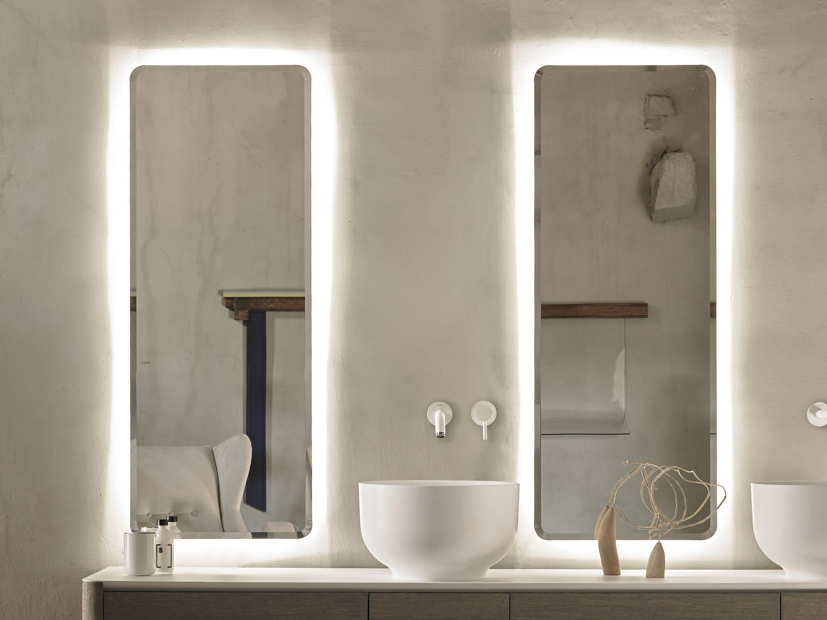 Specchio rettangolare con illuminazione integrata per bagno origin