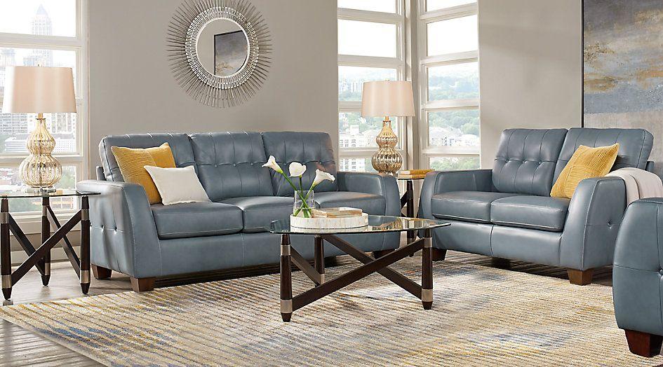 Santoro Ocean Leather 3 Pc Living Room Living Room Sets Blue