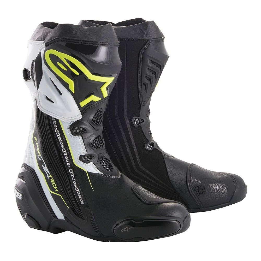 Alpinestars Supertech R Mens Boots Black/White/Flo Yellow
