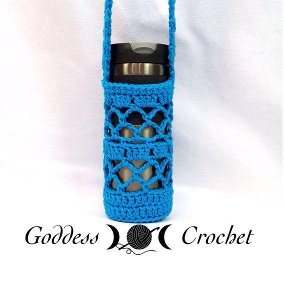 Crochet Water Bottle Holder Koozie with shoulder Strap Cotton Yarn ...