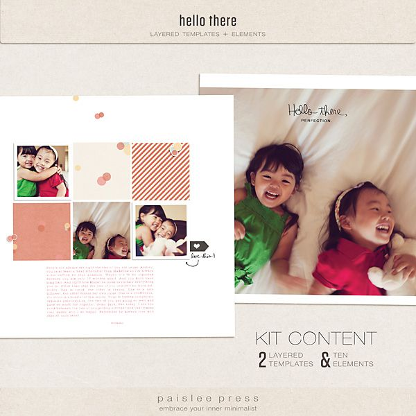 Oscraps :: Shop by Designer :: Paislee Press :: paislee press photobook templates :: hello there (templates)