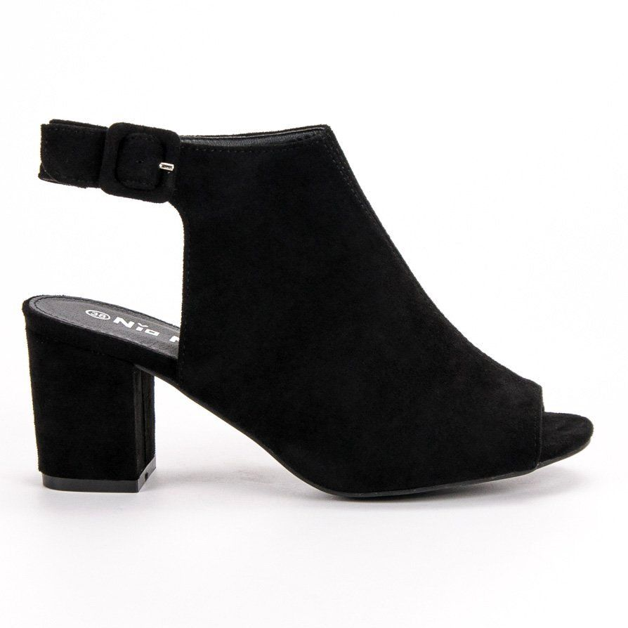 Nio Nio Zabudowane Sandaly Na Slupku Czarne Heels Shoes Mule Shoe
