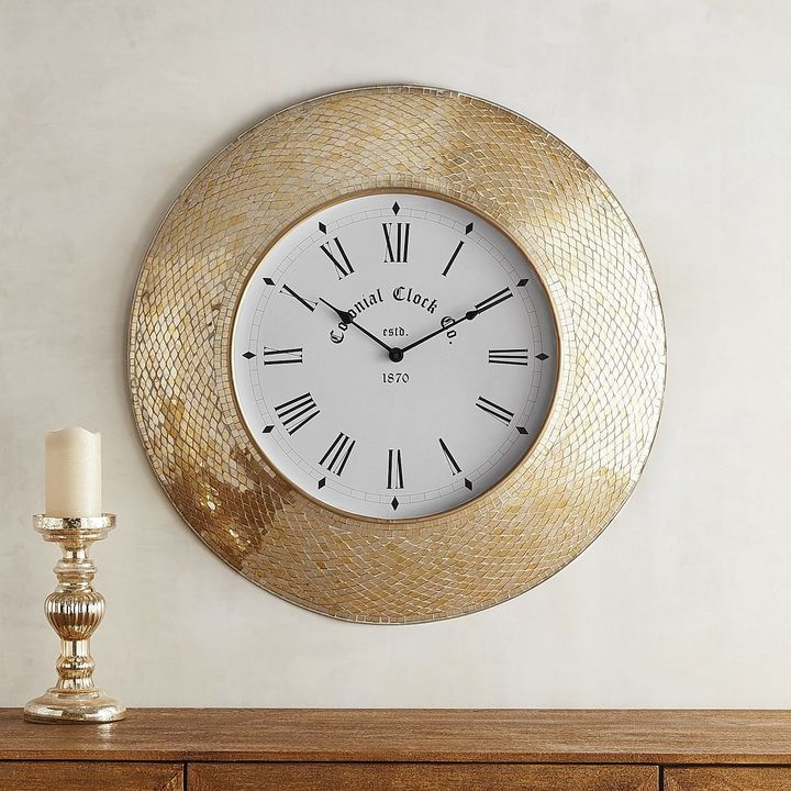 Pier 1 Imports Golden Mosaic Wall Clock Clock Wall Clock Antique Wall Clocks
