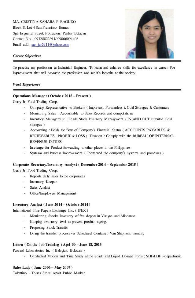 saleslady resume