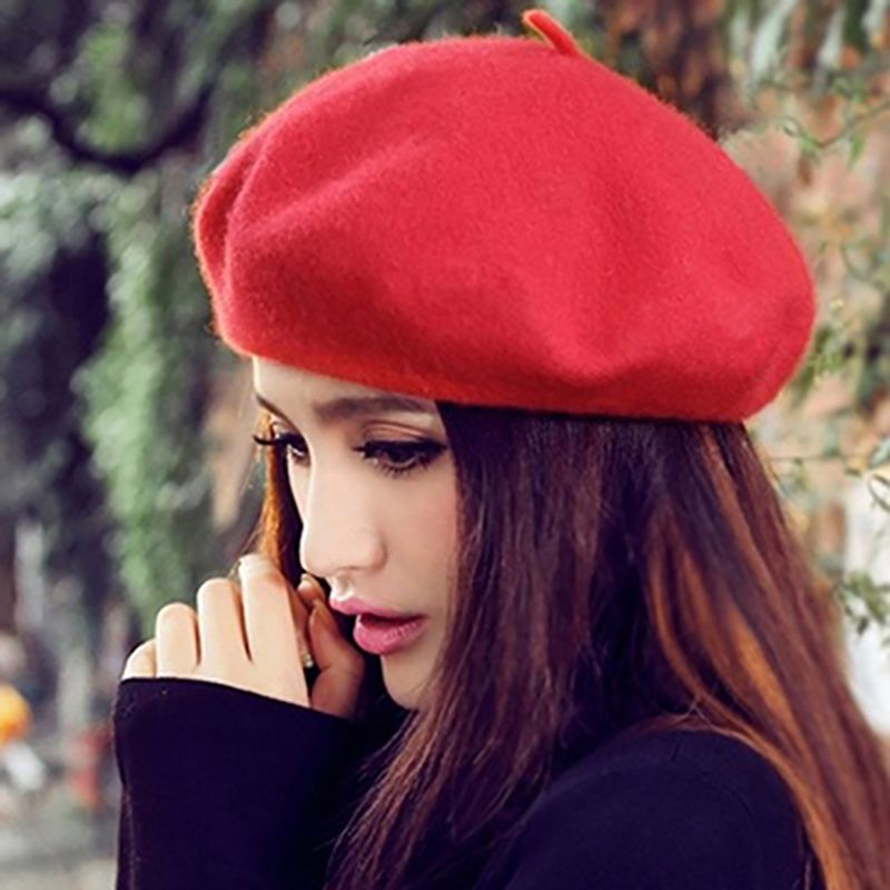 Casual Boina Roja De Punto French Manera Conveniente De La Boina De Lana Boina Light Sweet Classic Color S/ólido Sombreros Para Mujeres