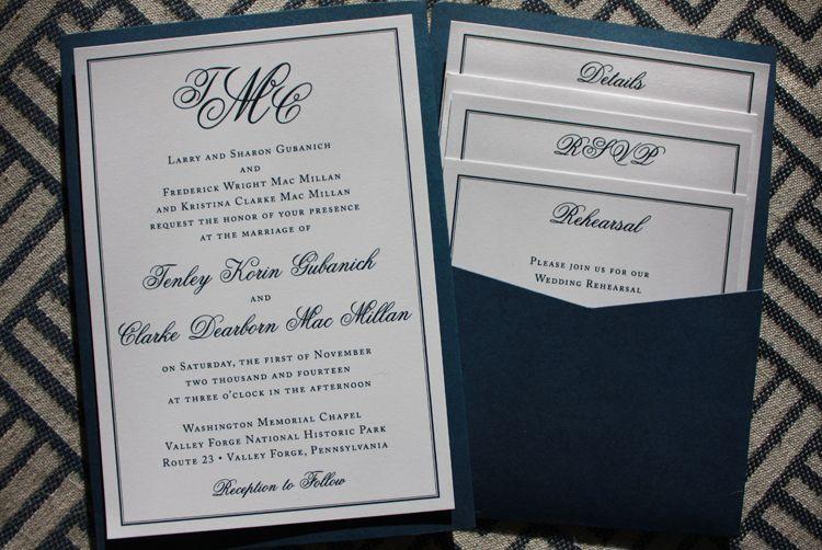 formal navy white monogram border clutch pocket wedding invitations - Pocket Wedding Invitations
