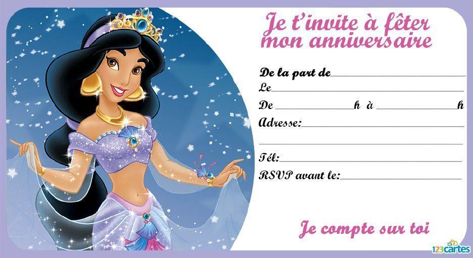 invitation anniversaire princesse a