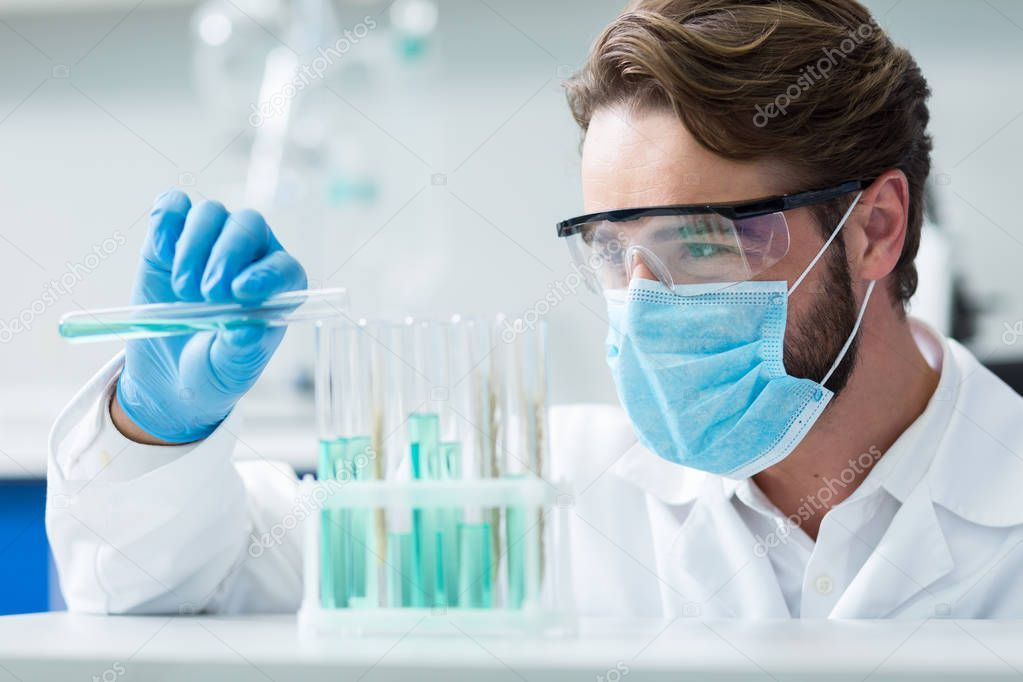 Professional Chemist Smart Nice Male Researcher Wearing Mask Protective Glasses Spon Nice Male Smart Profes Chemist Chemistry Jobs Organic Chemistry