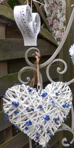 Heart wedding decorations ideas image collections wedding dress hand painted blue white rattan heart wedding decoration by daisy hand painted blue white rattan heart junglespirit Choice Image