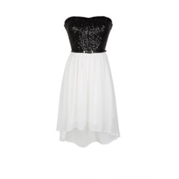 Black & White prom dress | Black sequin top, Sequin top and Black ...