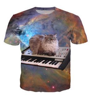Space Cat Laying on a Syth T Shirt