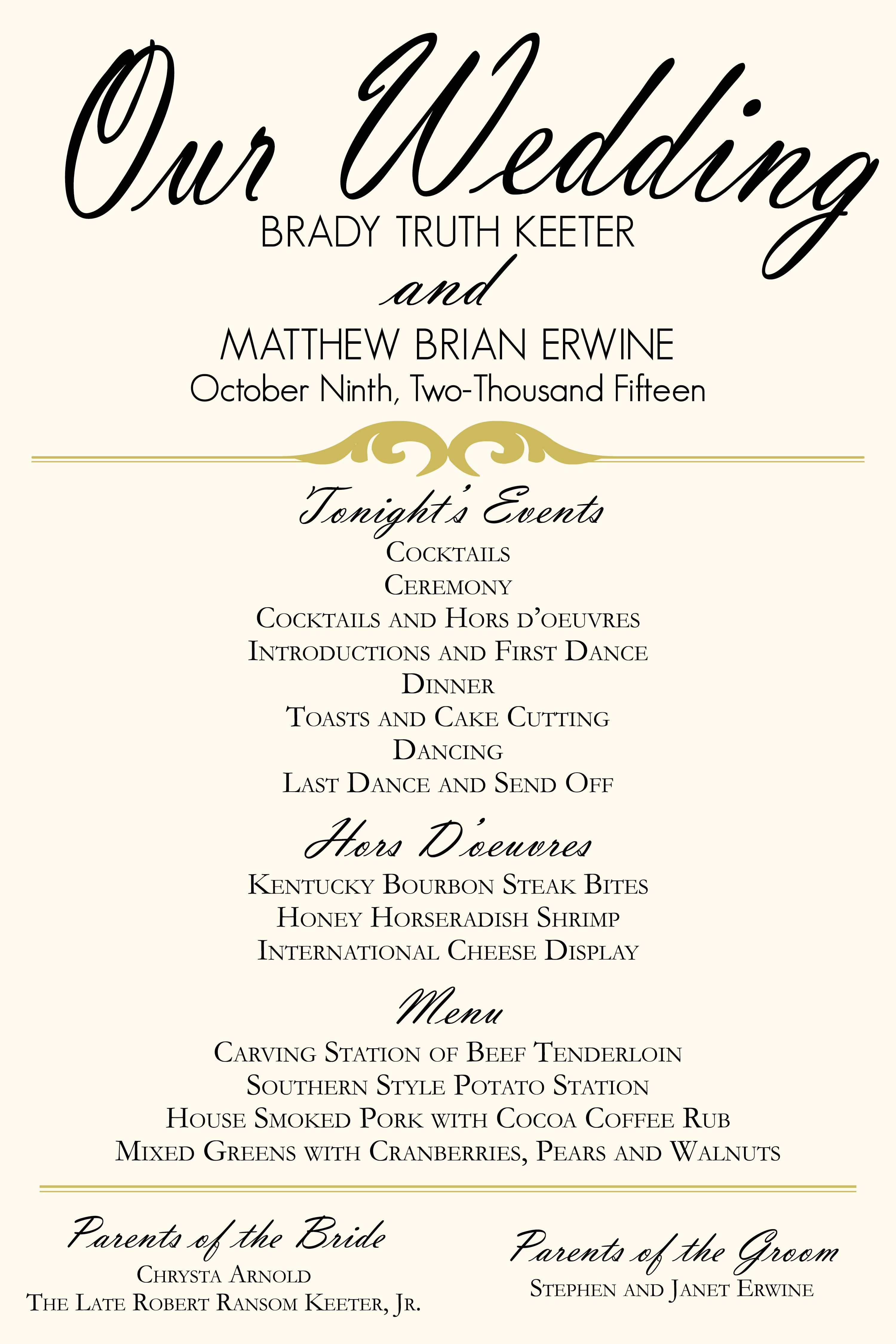 ivory and gold wedding program poster menu schedule of events